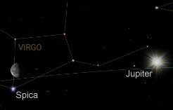 Jupiter near Spica in Virgo