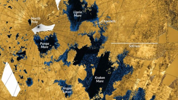 Hydrocarbon-filled lakes on Titan